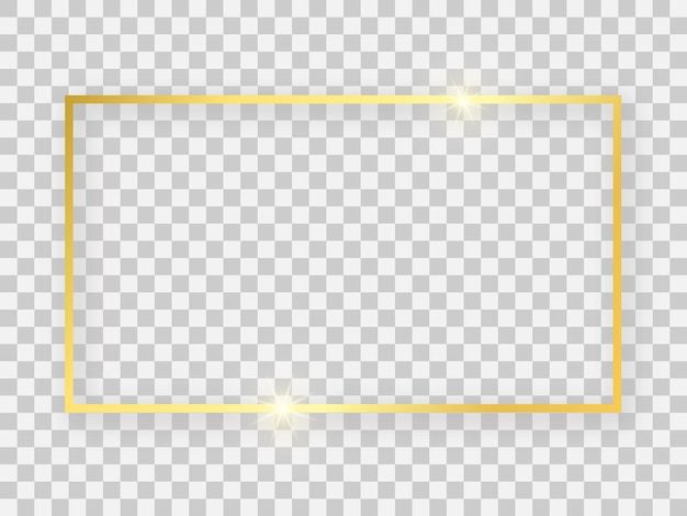 Marco rectangular dorado brillante de 16x9 con efectos brillantes y sombras sobre fondo transparente. ilustración vectorial