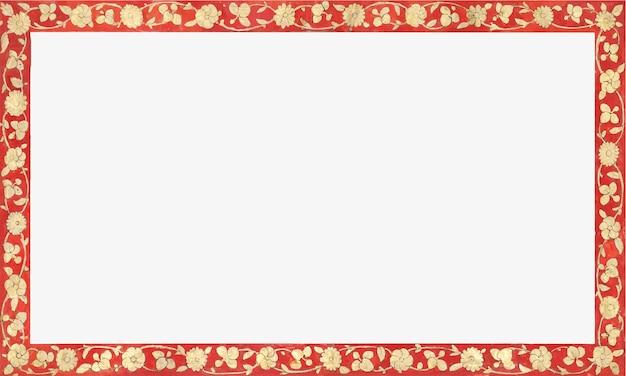 Marco rectangular dorado y rojo vintage