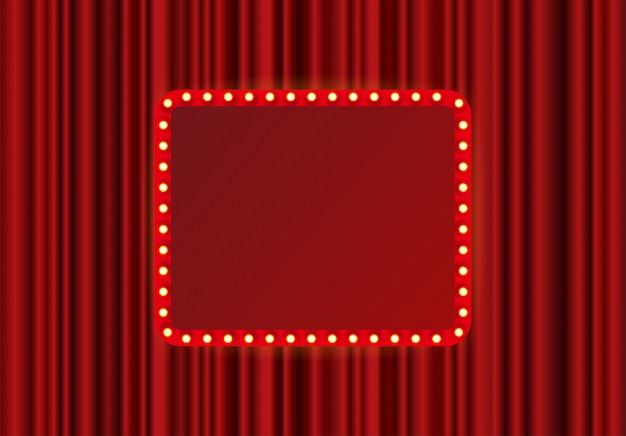 Marco rectangular de festival, espectáculo o escenario teatral