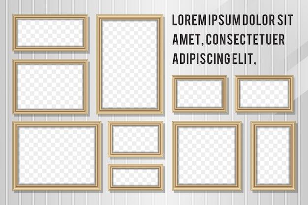 Marco rectangular de madera de la foto 3d con la sombra de la transparencia. collage de fotos vertical y horizontal