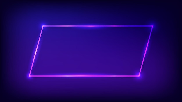 Marco rectangular de neón con efectos brillantes sobre fondo oscuro. telón de fondo de techno que brilla intensamente vacío. ilustración vectorial.