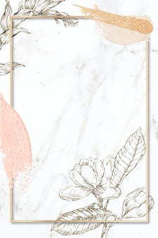 Marco rectangular con pinceladas y decoración de flores de contorno sobre fondo de mármol