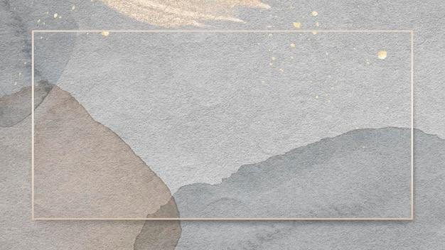 Marco de rectángulo dorado sobre fondo de acuarela