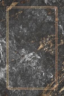 Marco de rectángulo dorado sobre fondo de mármol