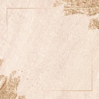 Marco de rectángulo dorado sobre fondo de textura