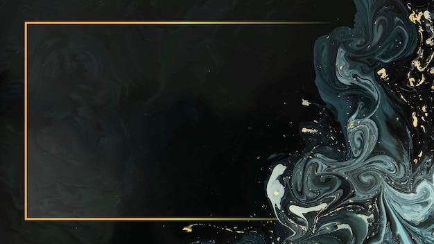 Marco de rectángulo dorado en vector de fondo líquido abstracto