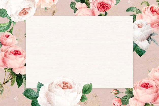Marco de rectángulo floral en blanco