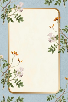 Marco de rectángulo floral dorado vector vintage elegante