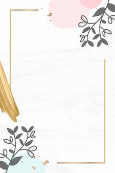 Marco de rectángulo floral dorado