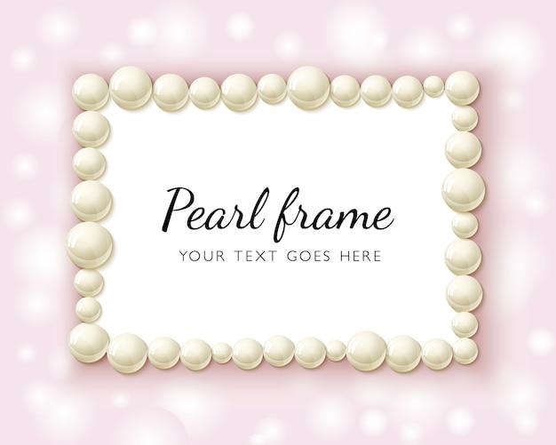 Marco de rectángulo de perlas de perlas sobre fondo rosa bokeh.