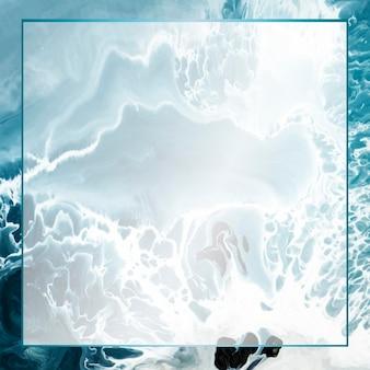 Marco de rectángulo sobre fondo acuarela abstracta grunge azul