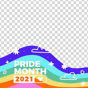 Marco de redes sociales del día del orgullo dibujado a mano