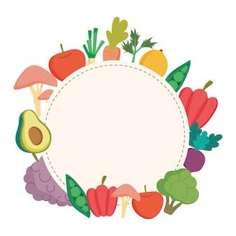 Marco redondeado de alimentos saludables