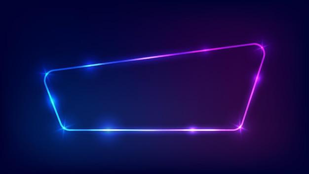 Marco redondeado de neón con efectos brillantes sobre fondo oscuro. telón de fondo de techno que brilla intensamente vacío. ilustración vectorial.