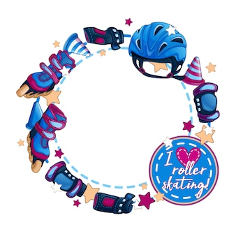 Marco redondo con accesorios deportivos para hombre. patines de ruedas, casco, fichas para slalom.