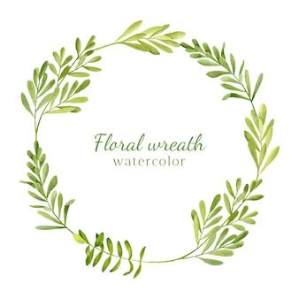 Marco redondo acuarela con hojas verdes, ramas de hierbas