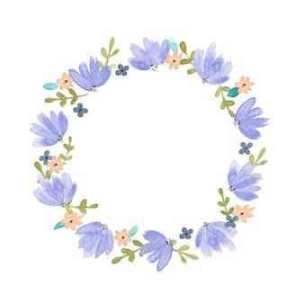 Marco redondo azul no me olvides y flores de primavera enredadera en ramo para boda