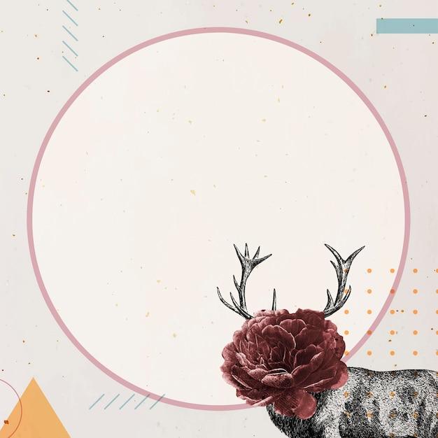 Marco redondo en blanco con un ciervo