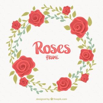 Marco redondo bonito con rosas rojas