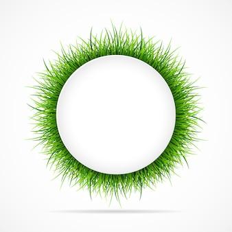 Marco redondo con hierba verde