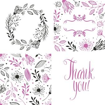 Marco redondo de flores, patrón y tarjeta de agradecimiento