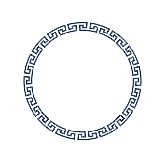 Marco redondo decorativo para diseño en estilo griego.