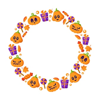 Marco redondo de dibujos animados de halloween o corona con elementos: linterna de calabaza aterradora con cara espeluznante, bastón de caramelo, piruleta, hoja de otoño
