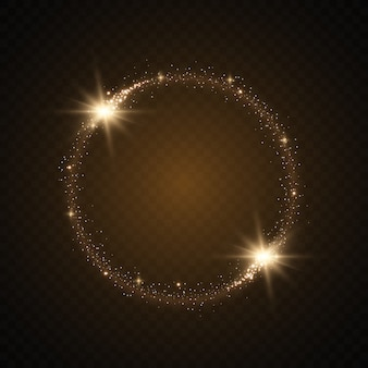 Marco redondo dorado brillante con ráfagas de luz.