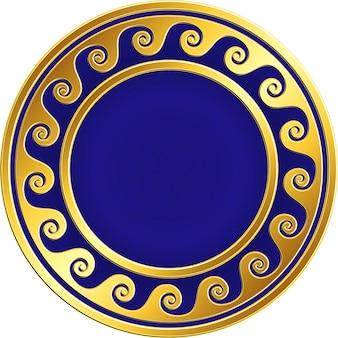 Marco redondo dorado con diseño griego meander