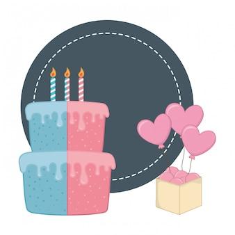 Marco redondo y elementos de fiesta de cumpleaños