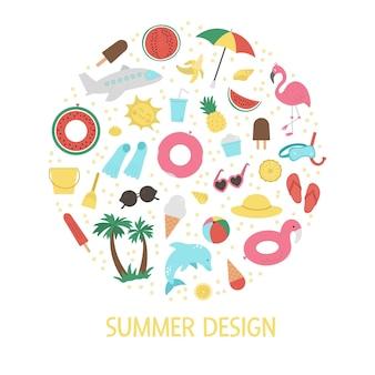 Marco redondo con elementos de imágenes prediseñadas de verano aislado sobre fondo blanco.