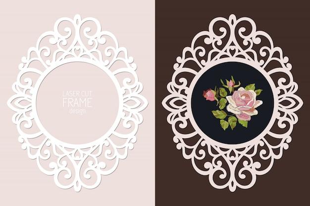Marco redondo de encaje cortado con láser, plantilla. marco de fotos recorte ornamental