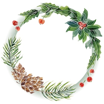 Marco redondo floral navideño con abeto y acebo. decoración para lindos saludos e invitaciones de navidad y año nuevo