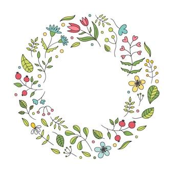 Marco redondo de flores de primavera hermosa linda sobre fondo blanco