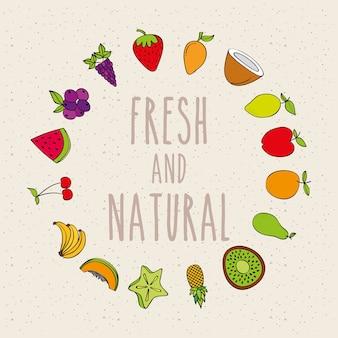 Marco redondo fruta fresca y natural