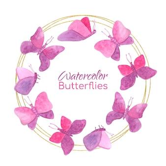 Marco redondo con mariposas acuarelas y círculos dorados