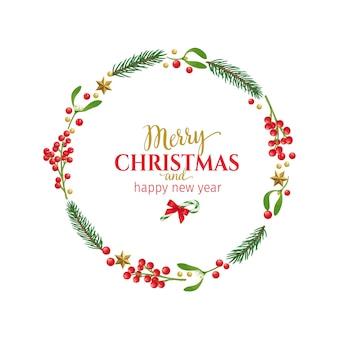 Marco redondo de navidad con ramitas de muérdago, ramitas de abeto, frutos rojos y adornos navideños.