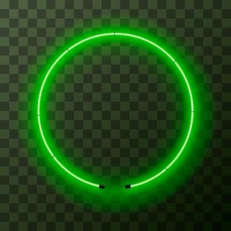 Marco redondo de neón verde brillante sobre fondo transparente