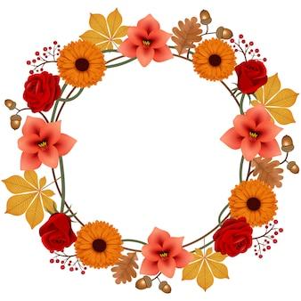 Marco redondo otoño con flores y hojas