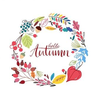Marco redondo otoño con hojas dibujadas a mano. guirnalda de fondo