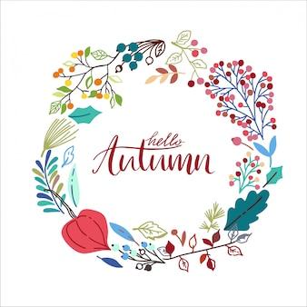 Marco redondo de otoño con hojas dibujadas a mano.