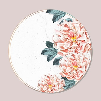 Marco redondo de peonía floral