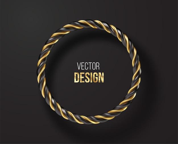 Marco redondo rayado negro y dorado aislado sobre fondo negro. ilustración de vector eps10