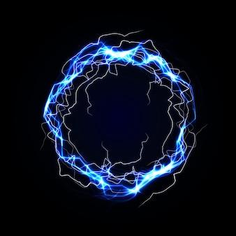 Marco redondo relámpago. plasma azul