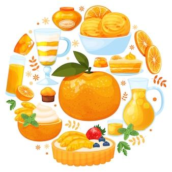 Marco redondo con sabrosos postres hechos de cítricos sobre fondo blanco. naranja fresca en medio del patrón