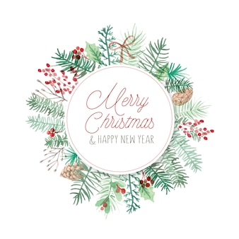 Marco redondo de la tarjeta de navidad