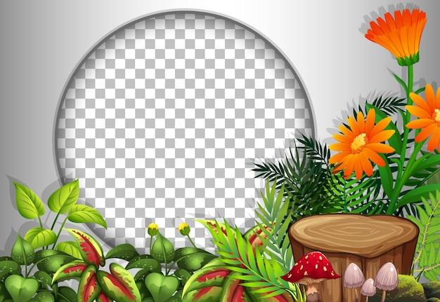 Marco redondo transparente con plantilla de flores y hojas tropicales