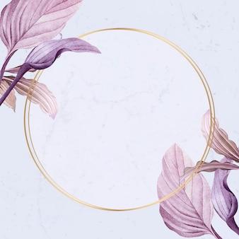 Marco redondo con vector de hojas moradas