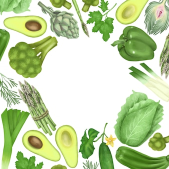 Marco redondo de vegetales y frutas verdes (aguacate, pimiento, pepino, alcachofa, brócoli, repollo, espárragos)