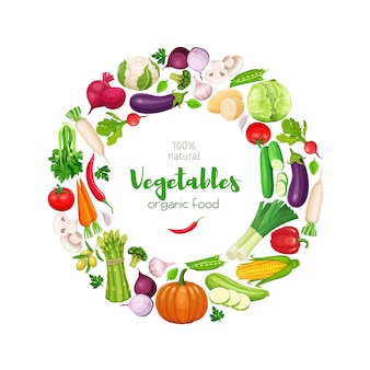 Marco redondo con verduras